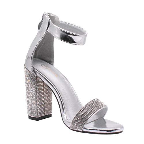 Jerilla Tacones de Mujer para Fiesta/Boda/Vestido de Noche Diamantes de Imitación Brillantes Correa de Tobillo Sandalias Zapatos de Tacón Grueso