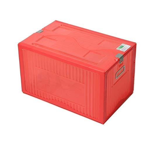 アースダンボール 収納ボックス ふた付き コンテナボックス プラスチック 1箱 レッド 【520×336×304mm】【1343】
