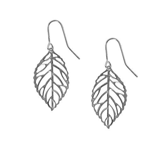 Humble Chic Women's Leaf Earrings Silver-Tone Lightweight Delicate Cutout Drops, Silver-Tone