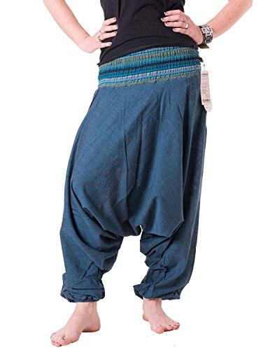 Vishes - Alternative Bekleidung - Baumwoll Weite Sommer Haremshose mit gestreiftem Bund Türkisblau
