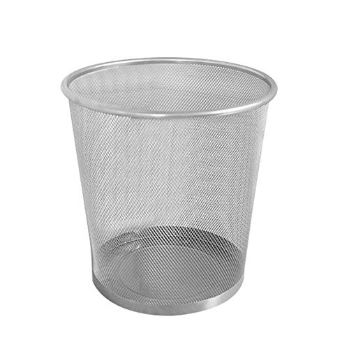 JEE Metallgeflecht Mülleimer Kreisförmiger Papierkorb ohne Deckel für Haus/Büro, leichter Papierkorb (Silber)