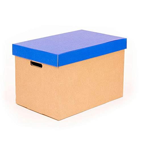Kartox | Cajas de almacenamiento con tapa azul mate | Cajas para mudanza y almacenaje de cartón con asas | Cajas se cartón muy resistente |53.2x33.1x32.5 (largo x ancho x alto) en cm | 2 Unidades
