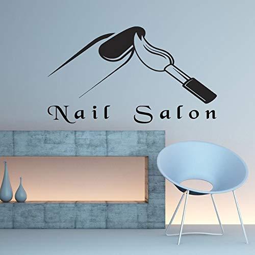 Nagel Salon Logo Wandmalerei Kunst Schönheit Salon Dekoration Maniküre Design Vinyl Wandtattoo Nagel Künstler Wand Vinyl Dekoration Aufkleber A7 57x33cm