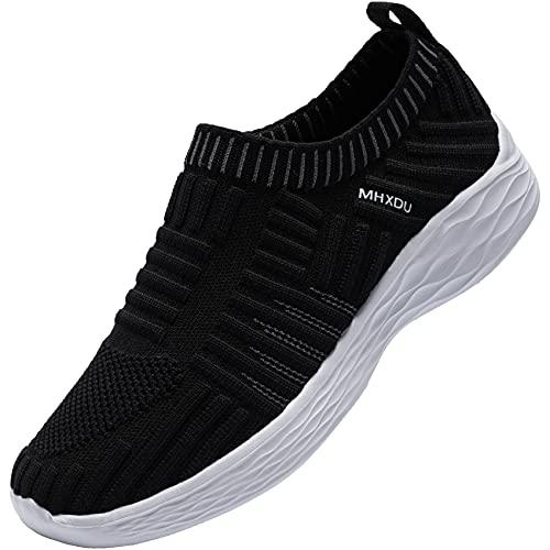 MHXDU Zapatos para Corror Mujer Zapatillas de Deportiva Slip on Sneakers para Caminar Walking Calzado Malla Transpirables Loafer (39 En Blanco y Negro)