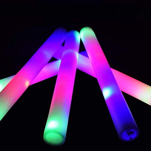 Taotuo 30 PCS LED Light Up Foam Sticks-Led Foam Sticks with Three Modes Color Effect Light Sticks for Parties, Weddings, Raves, Concert, Halloween