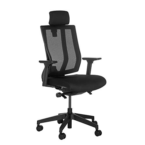 Vari Task Chair w/Headrest - Office Chair with Multiple Adjustment Points and Rolling Casters - Pivoting Ergonomic Backrest for Maximum Lumbar Support - No Tool Assembly