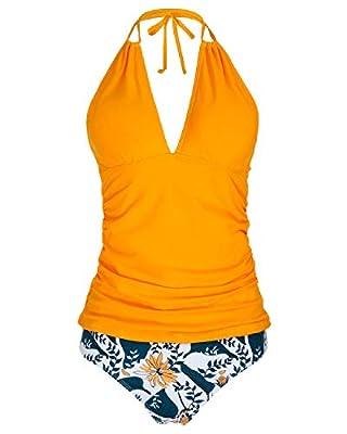 Yonique WomensHalter Tankini SwimsuitsYellow V NeckTankini Tops with Bikini Bottom Two PieceTummy ControlBathing Suits XL