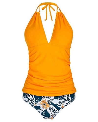 Yonique WomensHalter Tankini SwimsuitsYellow V NeckTankini Tops with Bikini Bottom Two PieceTummy ControlBathing Suits S