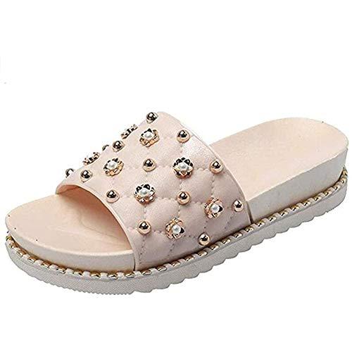 YCKZZR Sandalias con Cuña Fiesta, Mujeres Boda Primavera Verano Remaches Zapatillas De Playa Casuales Zapatos Sandalias Sintéticas,Caqui,38