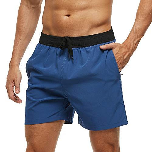 Qier Pantalones Cortos Hombre Beach Trunks Shorts De Tabla De Surf con Forro De Malla De Secado Rápido, Azul Marino Claro, L
