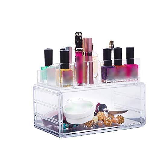 LAM Desktop Transparent Kosmetische Aufbewahrungsbox, Schublade Staubdicht Schmuck Kosmetische Display Box, Geeignet für Bad, Schminktisch, Schlafzimmer