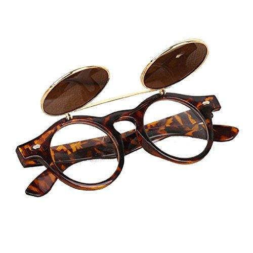 HLHN Herren Damen Steampunk Goth Goggles Gläser Vintage Retro Flip Up Runde Sonnenbrillen (Braun)