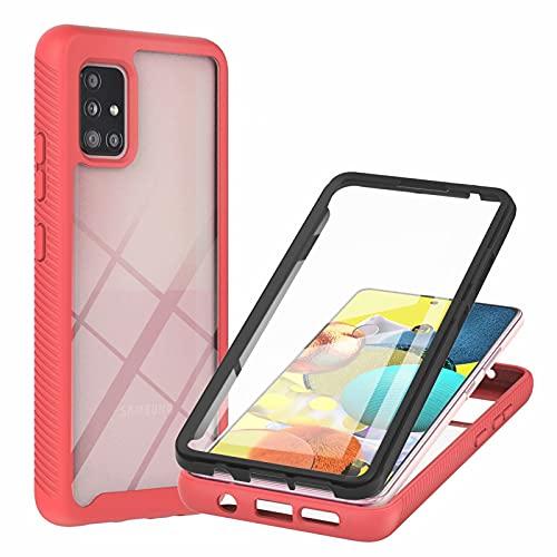 TTNAO Hülle Kompatibel mit Samsung Galaxy A51 5G Handyhülle,PET Material Handyhülle Eingebaute Displayschutzfolie Stylische Schutzhülle Unzerstörbar Bumper Kratzfest Rundumschutz Case-Rot