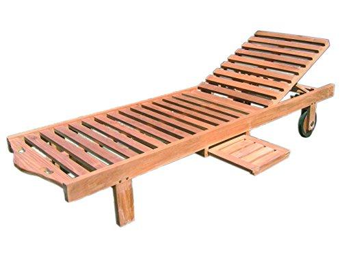 Teak Holz Roll Liege Standard 200x65x33cm
