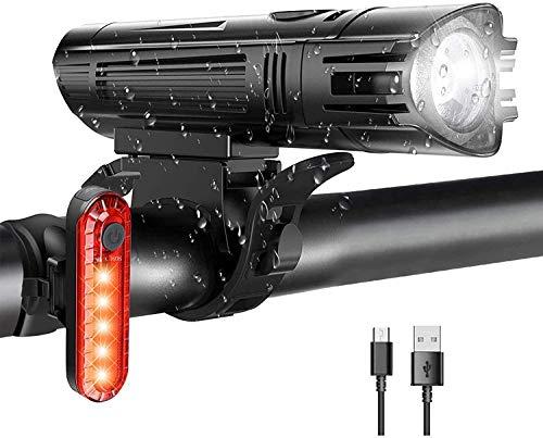 ZHENG Luces Bicicleta Conjunto de Luces de Bicicleta Recargable, Luces de Bicicleta USB Super Brillante se Adapta a Todas Las Bicicletas