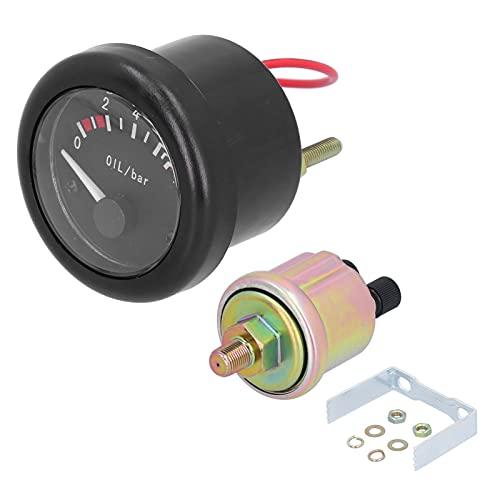 KIMISS Manómetro de presión de Aceite, indicador de presión de Aceite de Motor Marino, luz de Fondo LED con indicador de Sensor de Advertencia, luz de 12 V