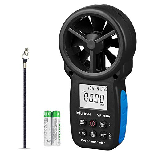 INFURIDER YF-866A Anemómetro digital, velocidad del viento, temperatura del viento, medición del flujo de aire Anemómetro probador CFM de velocidad del viento conectado por USB