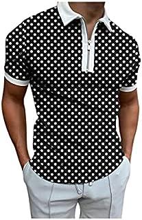 Wanxiaoyyyinnsdx Mens Henley Short Sleeve, Men's Casual T-Shirts Summer Tee Zipper Turn-Down Collar Tshirt Tops Polka Dot ...
