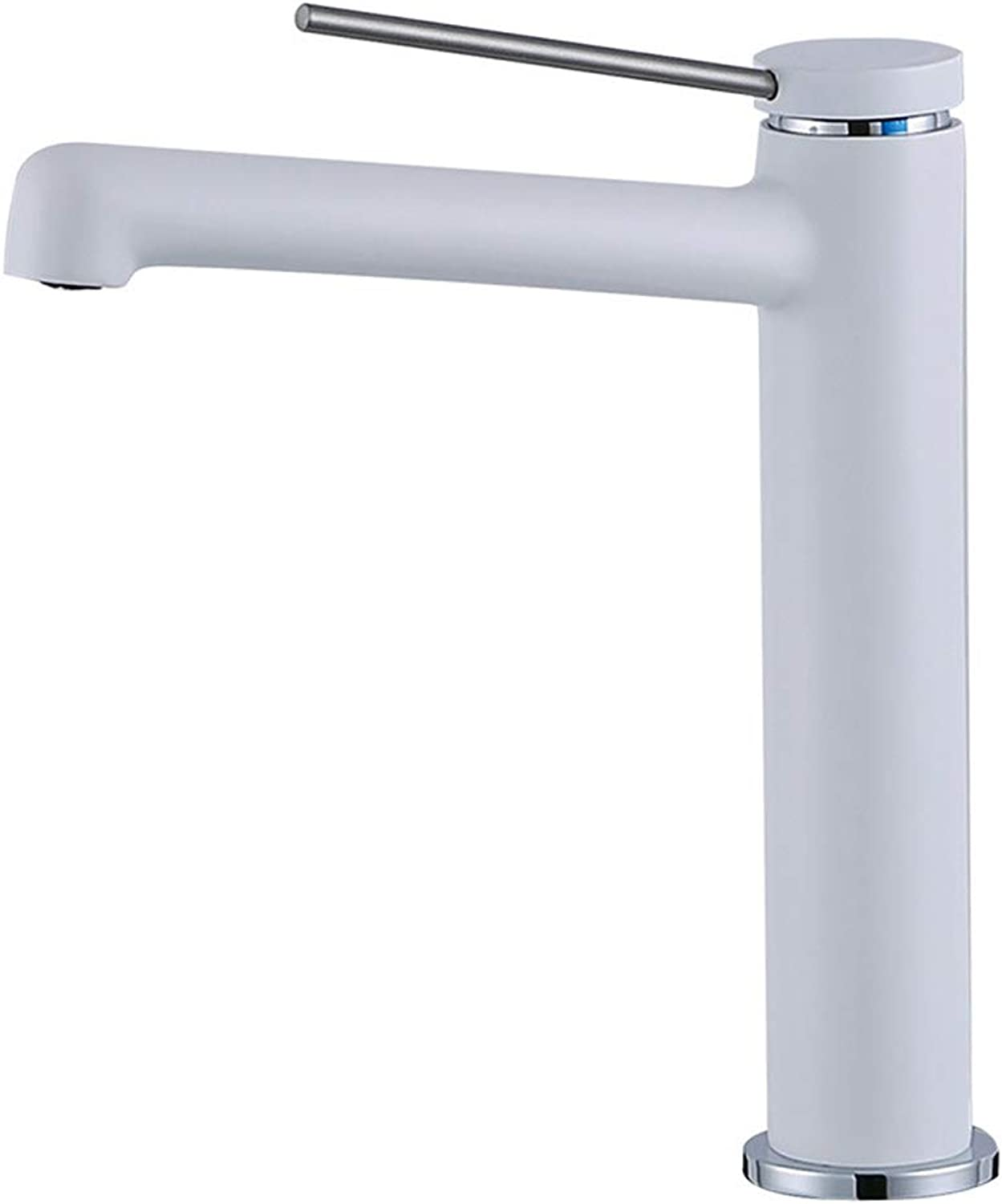 Modern all Brass Above Counter Basin Mixer Long Spout Handle Taps plating Bathroom Sink Hot Cold Taps,WhiteFaucet