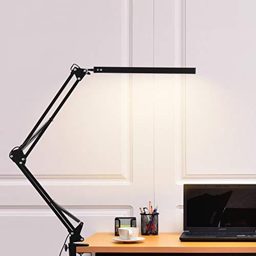 LED Schreibtischlampe,Schwenkarm Architektenlampe 3 Modi Arbeitsleuchte,Berührungssteuerung Büro Tischlampe, Dimmen einstellbare Farbtemperaturen,Augenschutz,12W Klemmleuchte,Mattschwarz