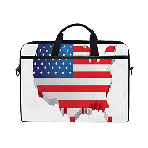 FOURFOOL 15-15.6 inch Laptop Bag,3D Map of United States with Old Glory Theme Patriotic Illustration,New Canvas Print Pattern Briefcase Laptop Shoulder Messenger Handbag Case Sleeve