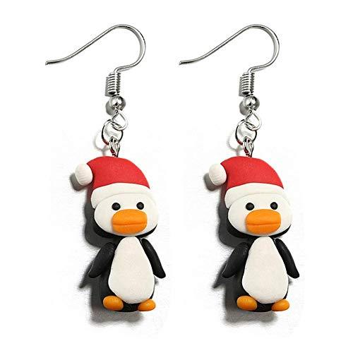 Cartoon Ohrringe, Modeschmuck Legierung Polymer Clay Drop Dangle für Frauen Mädchen Zubehör(Langer Pinguin)