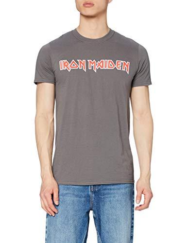 Iron Maiden Classic Logo Camiseta, Gris (Charcoal), L para Hombre