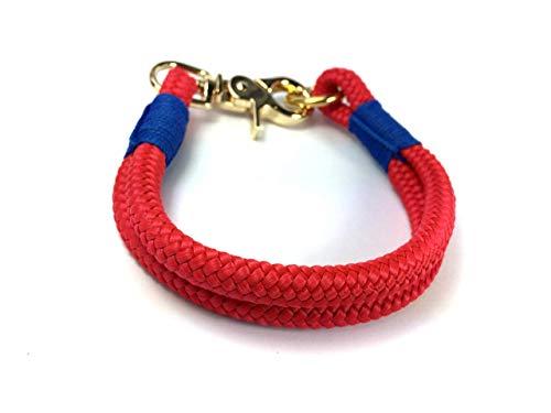 Hundehalsband, Hundeleine oder Set aus Tau, Tauhalsband, für kleine und große Hunde, rot blau