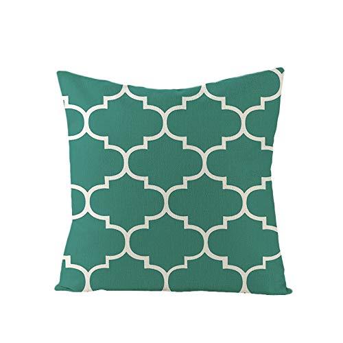 PPMP Funda de cojín Turquesa Estampado geométrico sofá Funda de Dormitorio decoración del hogar Funda de cojín Abrazo Funda de A2 45x45cm