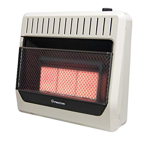 ProCom MG3TIR Dual Fuel Ventless Infrared Plaque Heater, 30,000 BTU, White