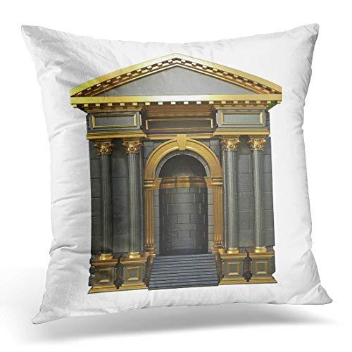 Funda de almohada decorativa con arco negro con columnas corintias, 3D, color dorado, funda de almohada cuadrada para decoración del hogar, 45,7 x 45,7 cm