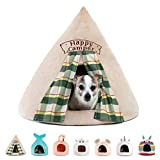 Best Friends by Sheri Novelty Pet Hut in Happy Camper Wheat - 360 Degree Coverage for Comfort and Security, Washable, for Pets up to 15lbs.
