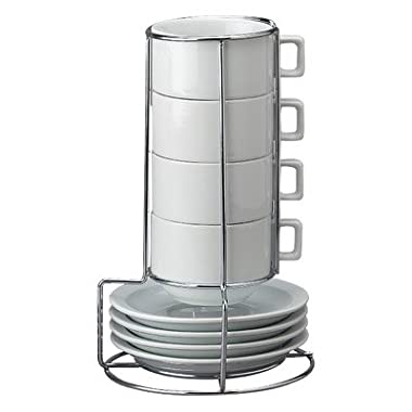 HIC Harold Import Co. HIC 9-Piece Stackable Cappuccino Coffee Tea Set, Fine White Porcelain, Set Includes 4 (7-Ounce) Cups with Matching Saucers and Metal Stand, Gift Boxed