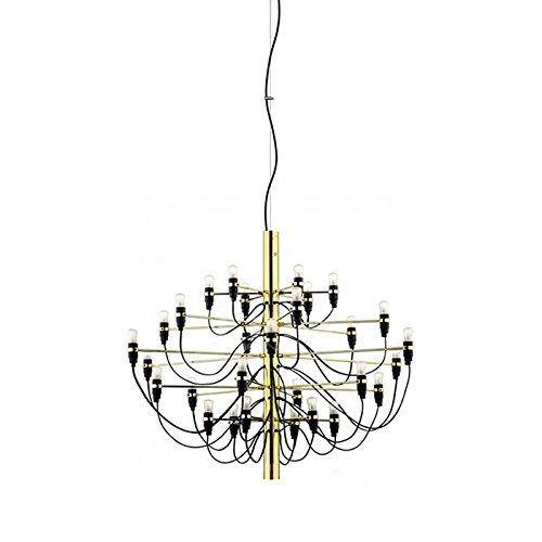 Flos 2097 30/50 lampadine Lampadario a Sospensione cromo o ottone by Gino Sarfatti - Ottone 2097/30