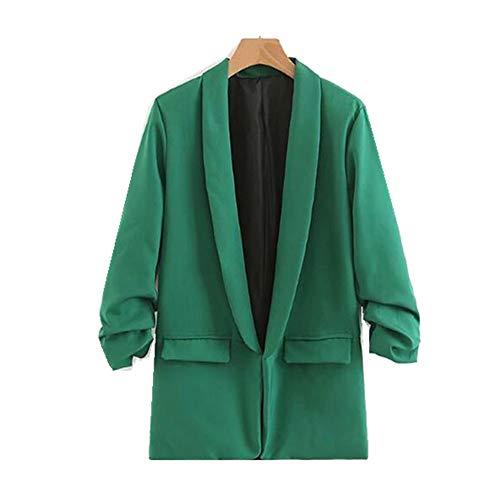 WJMM Damen Blazer Mit Einfarbig Ruched Manschette Mid Long Blazer Grün Mit Futter Frau Schalkragen Slim Fit AnzugOberbekleidung, L