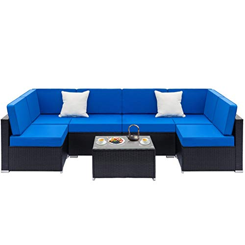 WWJL Fully Equipped Weaving Rattan Sofa Set, with 2pcs Middle Sofas & 4pcs Single Sofas & 1 pc Coffee Table, for Living Room Excellent Sofa Couches,1