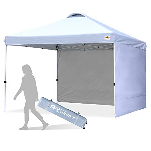 ABCCANOPY Canopy Tent 10x10 Pop Up Canopy Outdoor Canopies with Sun Wall Tent Popup Beach Canopy Shade Canopy Tent with Wheeled Carry Bag Bonus 4xWeight Bags,4xRopes&4xStakes,White