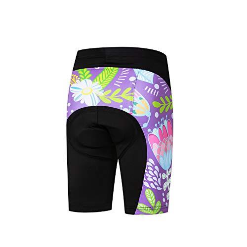 Jpojpo Fahrrad-Shorts für Kinder, kurze Hose, 4D-Gel-gepolsterte Fahrradhose S violett