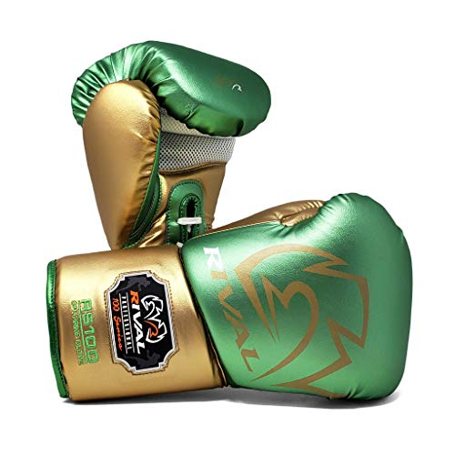 Rival Boxing Gloves RS100 Professional Sparring Training Workout Green Gold...