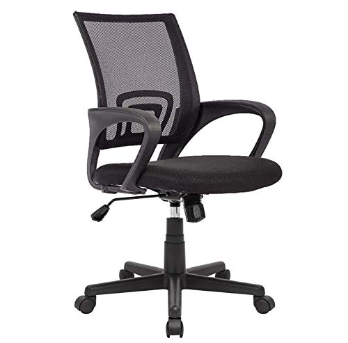 OFIKA Office Chair Ergonomic Desk Chair, Adjustable Task Chair for Lumbar Back Support, Mesh Mid Back Computer Chair with Rolling Swivel and Armrest, Modern Executive Home Office Desk Chairs (Black)