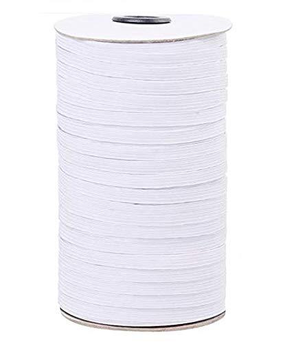 100 Yards Elastic Band 1/4 Inch Width Braided White Elastic Cord Heavy Stretch High Elasticity Knit Elastic Band for Sewing Crafts DIY, Mask, Bedspread, Cuff