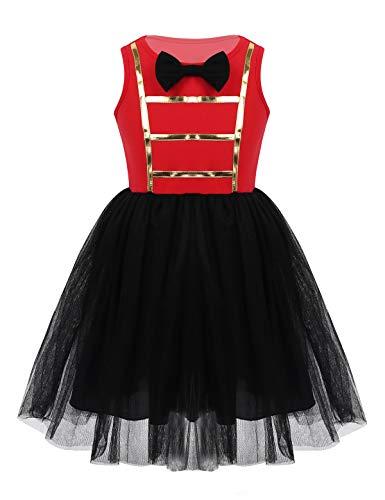 MSemis Disfraz Domadora de Circo para Niñas Vestido Tutú Deluxe Cosplay Circus Ringmaster Showman Traje Disfraces Fiesta Halloween Carnaval Negro y Rojo 8 Años