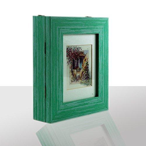 Neumann Bilderrahmen Schlüsselkasten grün, Fenster mit bunten Blumen, HxBxT 27x22x6 cm