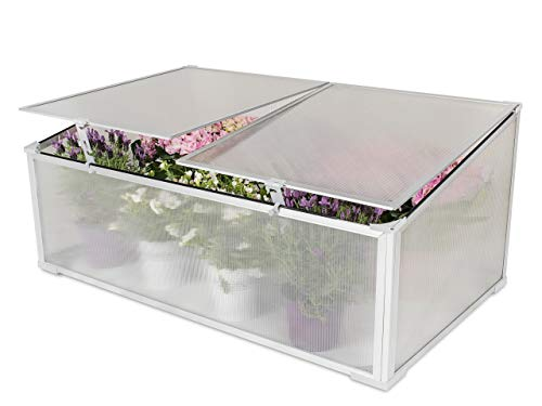 Garden Point Polycarbonate Coldframe For Growing Plants and Vegetables with Movable Cover | Protects against Rain and UV Radiation | Aluminum frame | 90 x 60 cm | Mat