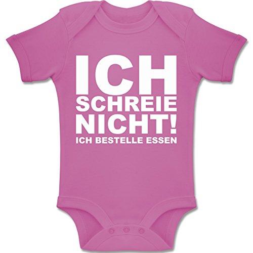 Shirtracer Sprüche Baby - Ich Schreie Nicht, ich bestelle Essen! - 1-3 Monate - Pink - BZ10 - Baby Body Kurzarm Jungen Mädchen