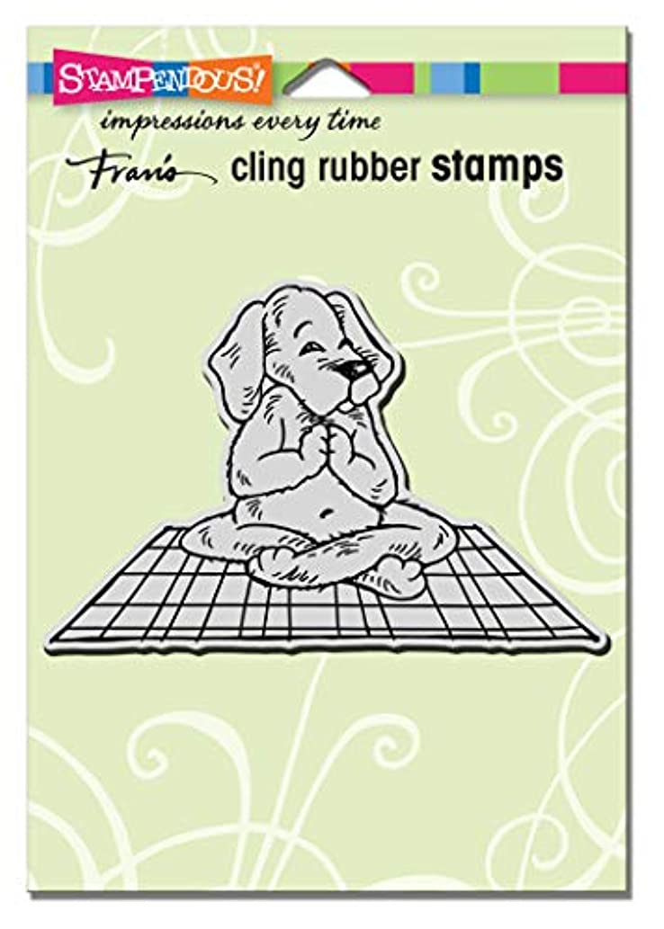Stampendous CRP330 Cling Rubber Stamp, Yoga Dog