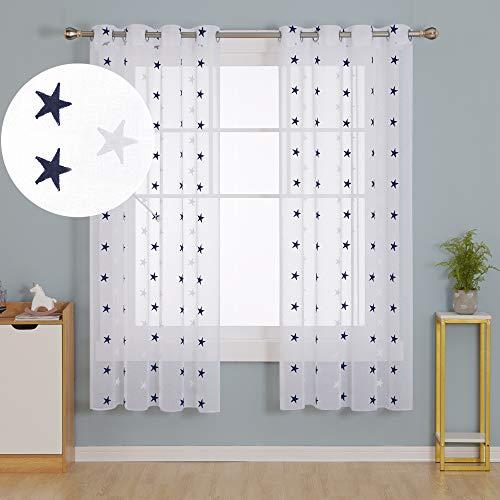 Doconovo Visillos Traslúsidos para Ventanas con Ojales 140 x 175 cm 2 Piezas Azul Marino Estrellas y Blanco