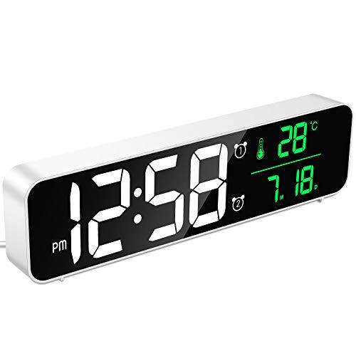 MOSUO Réveil Numérique, Horloge Murale Réveil Matin LED Digital Miroir Grand Ecran avec Température Date, 2 Alarme, 40 Musique, 6 Luminosité Variable, USB Clock pour Maison Bureau, Blanc