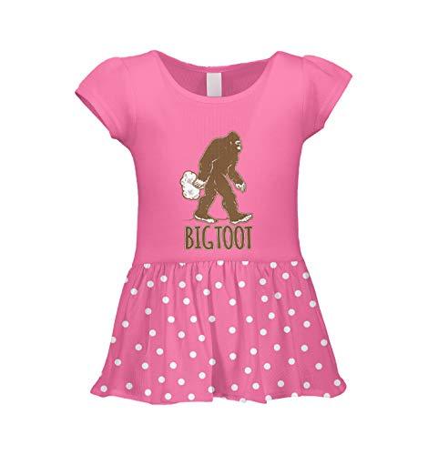 Big Toot - Big Foot Funny Humor Infant/Toddler Baby Rib Dress (Pink Polka Dot, 3T)