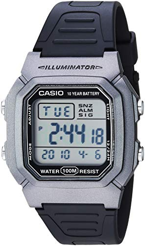Casio Men's Classic Stainless Steel Quartz Watch with Resin Strap, Black, 18 (Model: W-800HM-7AVCF)
